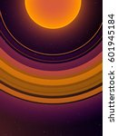 orange planet with giant orange ... | Shutterstock .eps vector #601945184