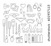 bdsm and sex set icons  linear... | Shutterstock .eps vector #601957115