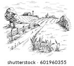 rural landscape field wheat in... | Shutterstock .eps vector #601960355