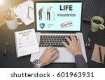 business hand using computer... | Shutterstock . vector #601963931