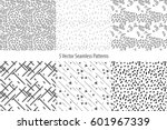 set of monochrome geometric... | Shutterstock .eps vector #601967339