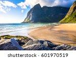 mountain beach landscape. beach ... | Shutterstock . vector #601970519