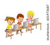 kids boy and girls are are... | Shutterstock .eps vector #601973687