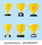 vector flat golden trophy set. | Shutterstock .eps vector #601983047