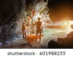 couple of kayakers stands with... | Shutterstock . vector #601988255