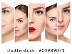 the young female face.... | Shutterstock . vector #601989071