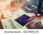 business woman using a laptop... | Shutterstock . vector #601989155
