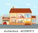 house inside with living room ... | Shutterstock .eps vector #601989971
