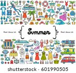 vector set with hand drawn... | Shutterstock .eps vector #601990505