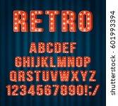 retro light bulb alphabet... | Shutterstock .eps vector #601993394