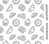 bakery seamless pattern vector... | Shutterstock .eps vector #601993559
