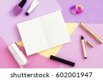 woman freelancer working place. ... | Shutterstock . vector #602001947
