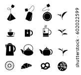 set of sixteen solid tea time...   Shutterstock .eps vector #602022599