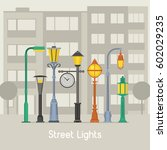 banner with street lamps and... | Shutterstock .eps vector #602029235