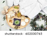 beautiful spa composition with... | Shutterstock . vector #602030765