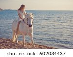 Girl In White Dress With Horse...