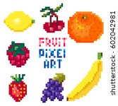 fruit and berries. pixel art... | Shutterstock .eps vector #602042981
