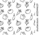 vegetables seamless pattern... | Shutterstock .eps vector #602044619