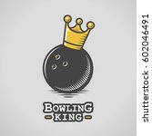 bowling ball with king crown... | Shutterstock .eps vector #602046491