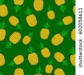 pattern of pineapple.  | Shutterstock .eps vector #602058611