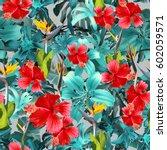 Tropical Blue Floral Pattern Blue - Fine Art prints