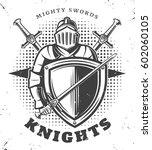 vintage monochrome knights... | Shutterstock .eps vector #602060105