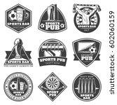 monochrome vintage sport bar... | Shutterstock .eps vector #602060159