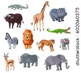 cartoon african animals set...