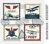 colorful aircraft postage... | Shutterstock .eps vector #602060387