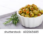 Bowl Of Green Olives Stuffed...
