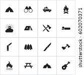 set of 16 editable trip icons.... | Shutterstock .eps vector #602070371