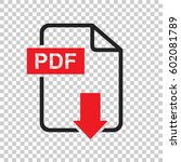 pdf download vector icon.... | Shutterstock .eps vector #602081789