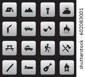 set of 16 editable travel icons.... | Shutterstock .eps vector #602083001
