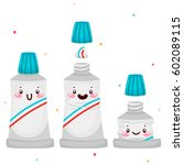 set with cute toothpaste ... | Shutterstock .eps vector #602089115