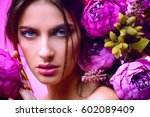 beauty portrait. gorgeous young ... | Shutterstock . vector #602089409