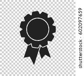 badge with ribbon icon. vector... | Shutterstock .eps vector #602097659