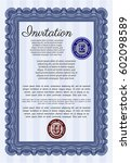 blue formal invitation. with... | Shutterstock .eps vector #602098589