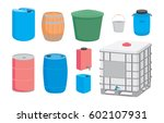 containers for liquid. plastic  ... | Shutterstock .eps vector #602107931