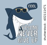 cool shark illustration vector... | Shutterstock .eps vector #602111471