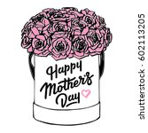 happy mothers day card. hatbox... | Shutterstock .eps vector #602113205