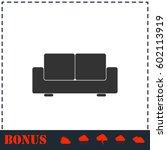 sofa icon flat. simple vector... | Shutterstock .eps vector #602113919
