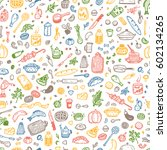 cooking vector seamless pattern.... | Shutterstock .eps vector #602134265