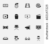 set of 16 editable movie icons. ... | Shutterstock .eps vector #602147225