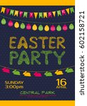easter party invitation poster... | Shutterstock .eps vector #602158721