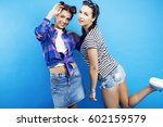 best friends teenage school... | Shutterstock . vector #602159579