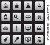 set of 16 editable hotel icons. ... | Shutterstock .eps vector #602159945