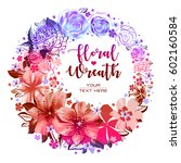 color illustration with flowers ... | Shutterstock . vector #602160584