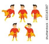cartoon superhero set  man in... | Shutterstock .eps vector #602165387
