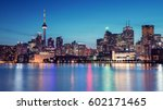 Small photo of Night Skyline of Toronto, Ontario, Canada. The view from Cherry Street.