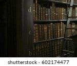 antique books and a ladder in a ... | Shutterstock . vector #602174477